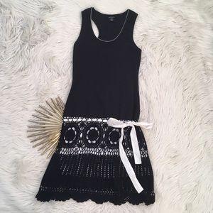 Moda International Knit & Crochet Drop Waist Dress